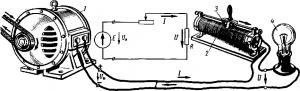 Рис. 17. Схема последовательного включения реостата в цепь приемника электрической энергии