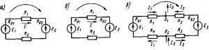 Рис 24. Схемы электрических цепей с несколькими источниками и приемниками электрической энергии: а и б — неразветвленных; в — разветвленной