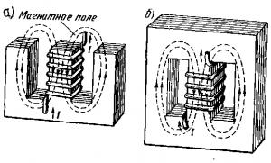 Рис. 42. Электромагниты с разомкнутым (а) и замкнутым (б) магнитопроводом