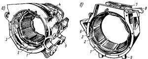 Рис. 77. Остовы тяговых двигателей с установленными полюсами при опорно-осевом подвешивании (а) и при рамном подвешивании (б): 1—остов; 2 — главный полюс; 3 — добавочный полюс; 4 — люк для осмотра коллектора; 5 — приливы для моторно-осевых подшипников; 6,8 — кронштейны для подвешивания двигателя на раме тележки; 7 — прилив для крепления коробки с выводными зажимами; 9 — выступы для установки двигателя