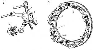 Рис. 89. Установка щеткодержателей на поворотной щеточной траверсе: 1 – траверса; 2 – стопорный болт; 3 – щеткодержатели; 4 – палец щеткодержателя; 5 – зубчатый венец