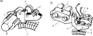 Рис. 88. Щеткодержатели вспомогательных машин (а) и тяговых двигателей (б): 1 — изолятор; 2 — пружина;натяжное устройство; 4 — обойма; 5 — щетка; 6 — щеточный палец; 7 — нажимной малец; 8 — щеточный канатик; 9 - кронштейн