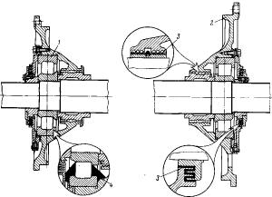 Рис. 90. Установка роликовых подшипников в тяговых двигателях: 1 — подшипник; 2 — подшипниковый щит; 3 — лабиринтовое уплотнение; 4 — смазка