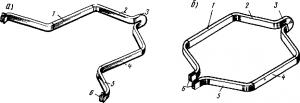 Рис. 95. Форма якорных катушек при волновой (а) и петлевой (б) обмотках: 1, 4 — пазовые части (верхняя и нижняя стороны); 2, 5 — задняя и передняя лобовые части; 3 — задняя головка; 6 — концы секций, припаиваемые к коллектору