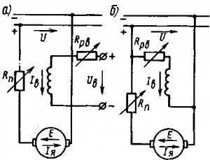 Рис. 125. Принципиальные схемы электродвигателей с независимым (а) и параллельным (б) возбуждением