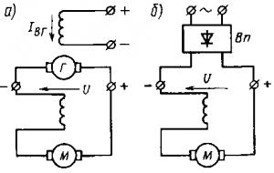 Рис. 135. Схемы питания электродвигателя с последовательным возбуждением от генератора (а) и выпрямителя (б)