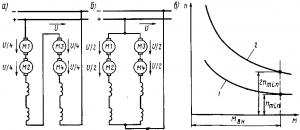 Рис. 136. Схемы соединения тяговых двигателей на четырехосных электровозах или электропоездах (а и б) и механические характеристики двигателей при различных схемах соединения (в): 1 — последовательное соединение; 2— последовательно-параллельное соединение