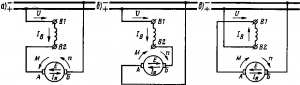 Рис. 140. Схемы переключений обмотки электродвигателя с последовательным возбуждением при изменении направления вращения