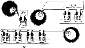 Рис. 166. Напряжение, приложенное к приемнику, при различном числе последовательно соединенных аккумуляторов