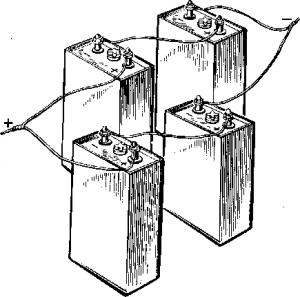 Рис. 167. Смешанное соединение аккумуляторов