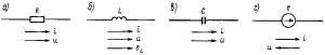 Рис. 174. Условные обозначения основных элементов электрических цепей переменного тока