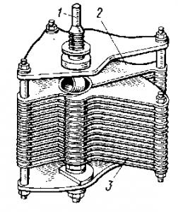 Рис. 186. Устройство конденсатора переменной емкости