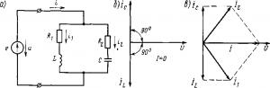 Рис. 198. Электрическая схема (а) и векторные диаграммы (б и в) при резонансе токов
