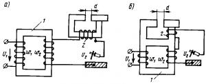 Рис. 224. Принципиальные схемы сварочных трансформаторов: а —с внешней индуктивностью (реактором), б - с реактором на общем сердечнике; 1 — трансформатор; 2 — реактор