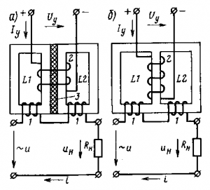 Рис. 238. Схемы магнитного усилителя с насыщающимися реакторами со сдвоенным (а) и с трехстержневым (б) сердечниками