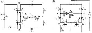 Рис. 241. Принципиальные схемы магнитных усилителей с самонасыщением с выходом на переменном (а) и постоянном (б) токе: 1 — обмотка управления; 2 — рабочая обмотка; 3 — сердечники; 4 — полупроводниковые вентили