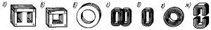 Рис. 216. Сердечники однофазных трансформаторов малой мощности, собранные из штампованных листов (о, б), колец (в) и стальной ленты (г—ж)