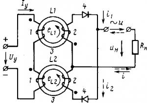 Рис. 240. Схема магнитного усилителя с самонасыщением