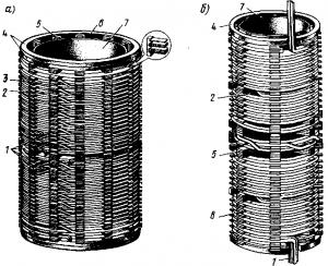 Рис. 218. Непрерывная спиральная (а) и винтовая (б) обмотки мощных трансформаторов электрического подвижного состава: 1 — выводы; 2,6 — каналы для прохода охлаждающей жидкости; 3 — катушки; 4 — опорные кольца; 5 — рейки; 7 — бакелитовый цилиндр; 8 — проводники обмотки