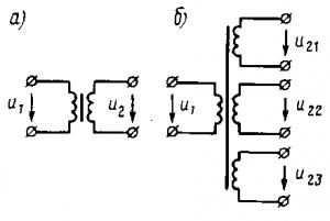 Рис. 220. Схемы двухобмоточного (а) и многообмоточного (б) трансформаторов