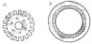 Рис. 252. Листы ротора (а) и статора (б)