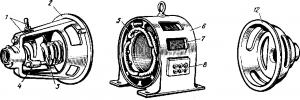 Основные конструктивные узлы асинхронного двигателя с фазным ротором
