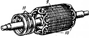 Рис. 259. Основные конструктивные узлы асинхронного двигателя с фазным ротором: 1 — приспособление для подъема щеток; 2, 12 —- подшипниковые щиты; 3 — щеткодержатели; 4 — траверса; 5 — обмотка статора; 6 — остов; 7 — сердечник статора; 8 — коробка с выводами; 9 — сердечник ротора; 10 — обмотка ротора; 11 — контактные кольца