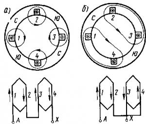 Рис. 266. Схема переключения катушек обмотки статора (одной фазы) для изменения числа полюсов: а — при четырех полюсах; б — при двух полюсах