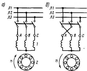 Рис. 269. Схемы подключения асинхронного двигателя к сети при изменении направления его вращения