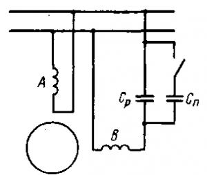 Рис. 274. Схема конденсаторного асинхронного двигателя