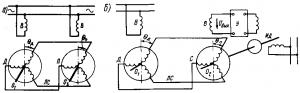 Рис. 280. Схемы включения сельсинов при работе их в индикаторном (а) и трансформаторном (б) режимах