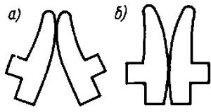 Рис. 299. Перекатывающиеся контакты Т-образной формы в начале (а) и в конце (б) включения