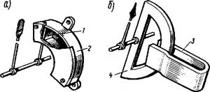 Рис. 322. Воздушный (а) и магнитно-индукционный (б) демпферы
