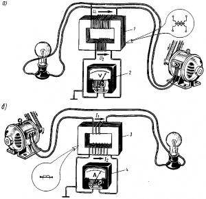 Рис. 334. Включение электроизмерительных приборов посредством измерительных трансформаторов напряжения (а) и тока (б)