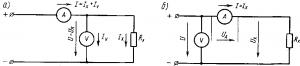 Рис. 339. Схемы для измерения сопротивления методом амперметра и вольтметра