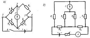 Рис. 340. Мостовые схемы постоянного тока, применяемые для измерения сопротивлений