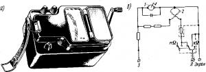Рис. 343. Общий вид мегаомметра (а) и его упрощенная схема (б)