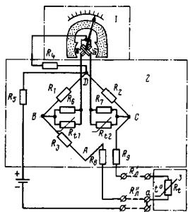 Рис. 346. Принципиальная схема электрического термометра с терморезисторным датчиком