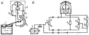 Рис. 348. Принципиальные схемы электрических уровнемера (а) и манометра (б) с реостатными датчиками